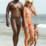 Naked black guy and topless blonde