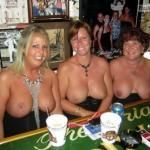 Three mature topless cougars three pairs of big tits