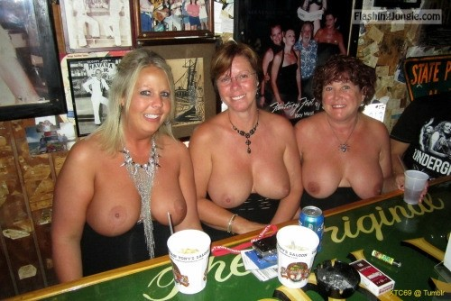 Three <strong>mature</strong> topless cougars three pairs of big <strong>tits</strong>