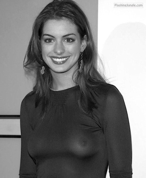 Voyeur Pics Boobs Flash Pics - Celebrity nude: Ann Hathaway tits see through blouse