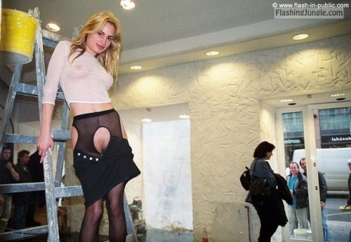 Skimpy blonde giving motivation to construction workers pussy flash public flashing boobs flash
