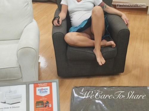She knows how to make furniture shopping better... upskirt pussy flash no panties milf pics mature flashing store bitch