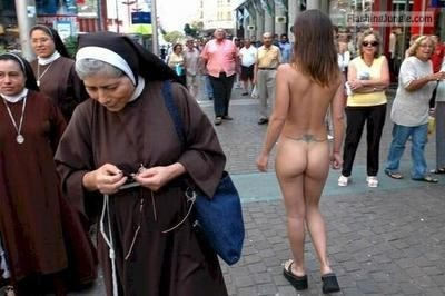 Nuns passing by naked girl on the street public nudity
