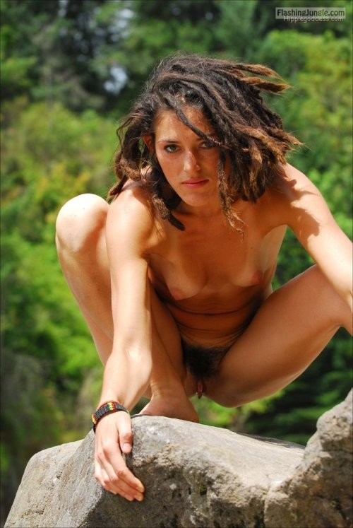 Exotic jungle girl caught naked on rock public nudity