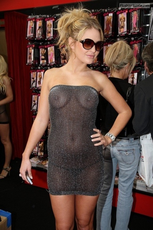 Luxury blonde visible boobs and pokies under see through dress public flashing pokies pics boobs flash bitch