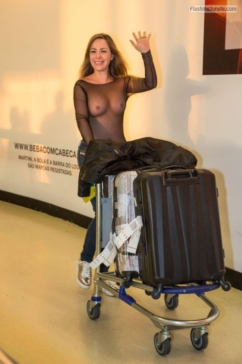 See through blouse on airport voyeur public flashing boobs flash