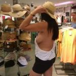 No bra sideboob Mimi trying on new hat