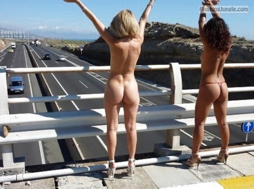 Blonde and brunette in high heels highway flashing public nudity public flashing