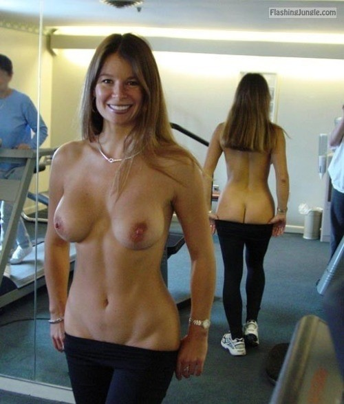 Topless wife undressing in gym public flashing milf pics boobs flash ass flash