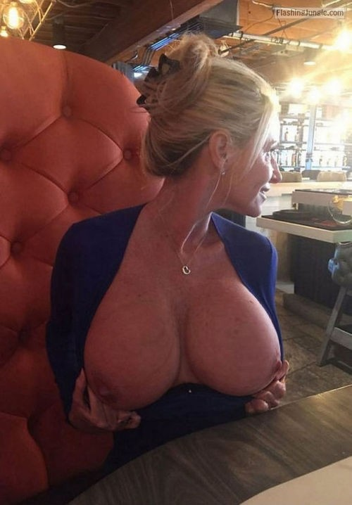 Massive tits of mature hotwife public flashing milf pics mature howife boobs flash