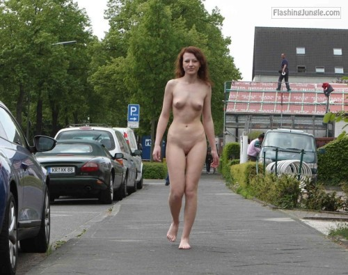 Naked redhead walking in neighborhood public nudity