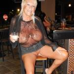 Blonde granny massive jugs pantieless at bar