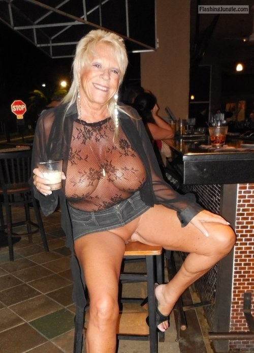 Blonde granny massive jugs pantieless at bar upskirt pussy flash public flashing no panties milf pics mature howife boobs flash
