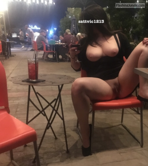 Pussy Flash Pics Public Flashing Pics No Panties Pics MILF Flashing Pics Hotwife Pics Boobs Flash Pics - Juicy cunt round boobs show off after few cocktails