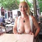 Milf blonde with juicy big breasts restaurant