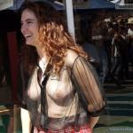 MILF redhead smiling: See through blouse natural