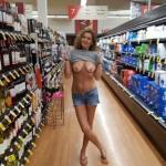 Flashing tan lines and saggy tits at supermarket