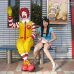 Pantyless Japanese girl in front of McDonald's
