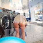 Caught pantyless at laundromat