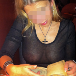 My gorgeous wifey without bra in see through blouse