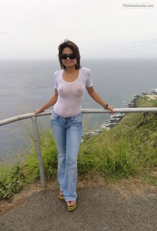Wife in white see through blouse no bra at seaside public flashing pokies pics milf pics howife boobs flash