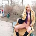Skinny blonde open front coat no underwear park bench