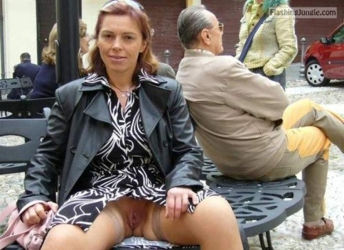 Redhead MILF meaty cunt on public bench upskirt pussy flash public flashing no panties milf pics