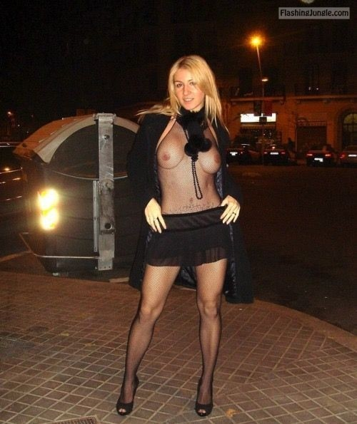 Very sexy blonde with no bra in see through top public flashing howife boobs flash
