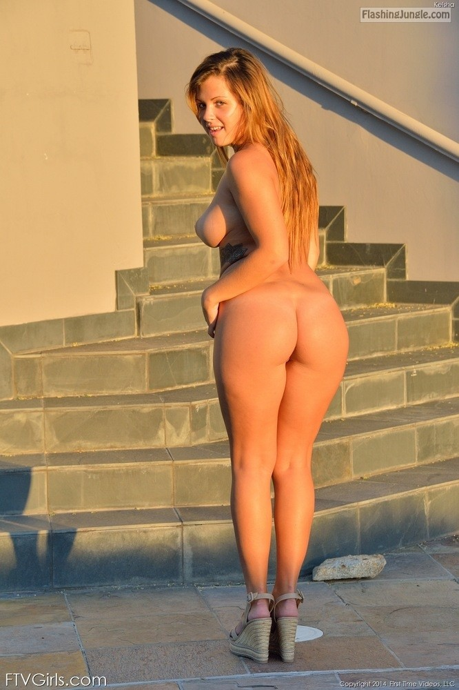 Busty redhead Big Ass Naked in high heels Keisha FTV public nudity