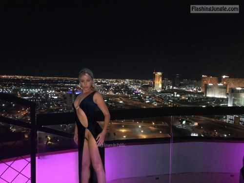 Evening dress no underwear on the top of Rio Las Vegas public flashing no panties howife bitch