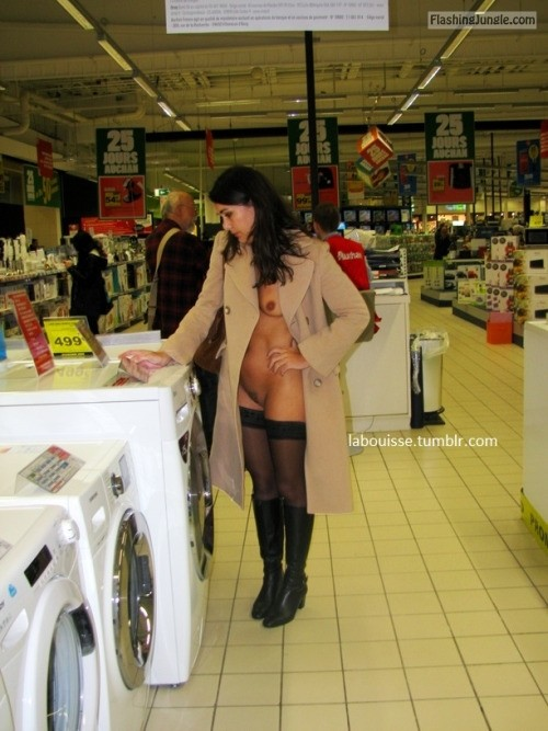 Raven wife wearing coat stockings and boots at supermarket pussy flash public flashing no panties milf pics howife flashing store boobs flash