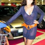 Wifey in blue see through dress on underwear at parking garage