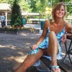 Pantyless wife in blue dress: memory from vacation