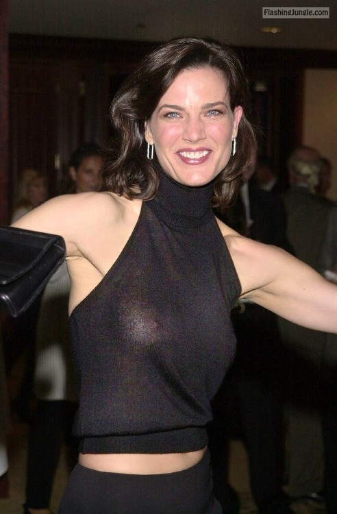 Celeb Terry Farrell nude breasts no bra see through voyeur boobs flash