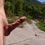 Super hard veiny skinny big cock in nature