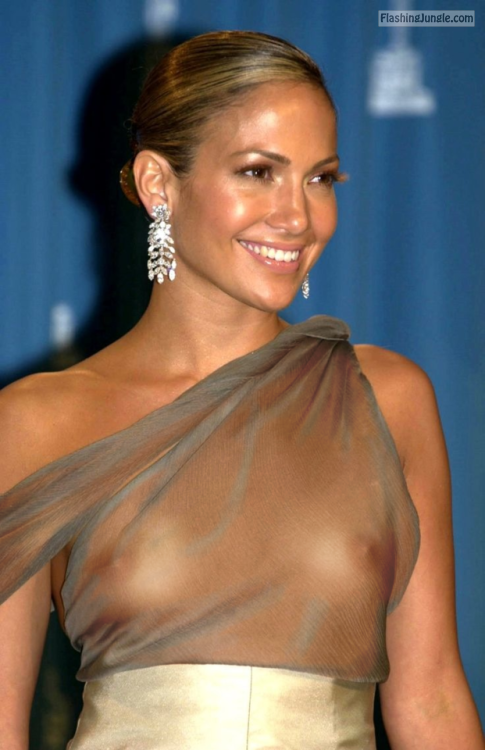 Celeb Jennifer Lopez nude tits see through top voyeur boobs flash