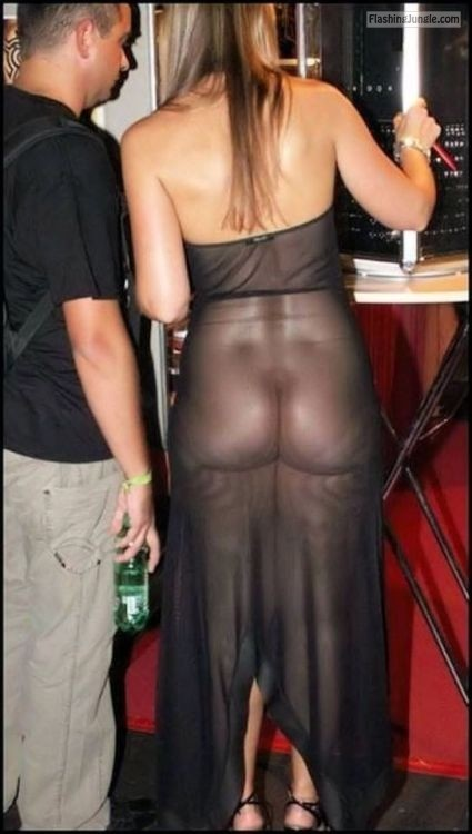 Pantiless in see through black dress visible butt voyeur ass flash