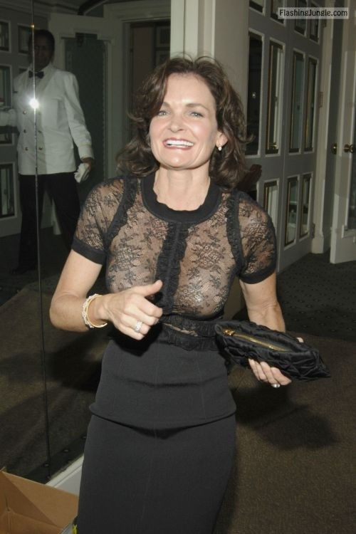 <strong>Mature tits</strong> under lacy see through blouse