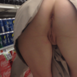 Pantieless wifey bent over in supermarket