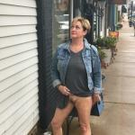 Old cougar flashing hairy cunt on sidewalk