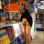 Pantyless at book store: stockings and hairy cunt