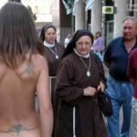Nun's reaction on naked girl on the street