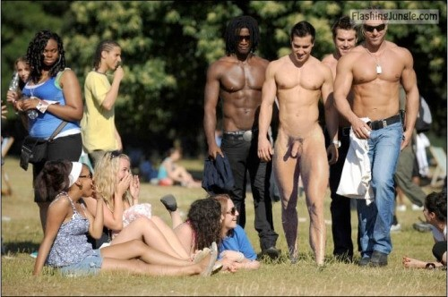 Four hansom guys big dick for girls in park dick flash