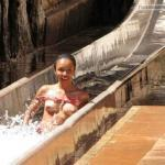Black girl boobs slip accident on water slide