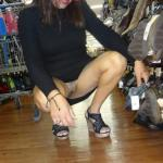 Pantieless in shoes store: Flashing butterfly tattoo on pubic area