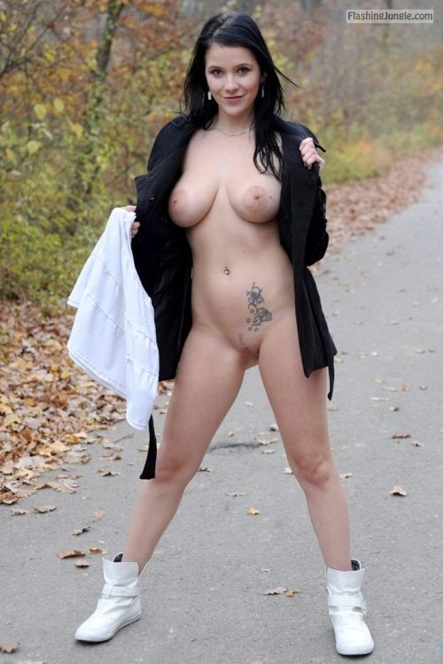 Dark haired slut with big natural breasts and tattoo pussy flash public flashing no panties boobs flash