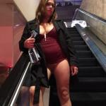 Chubby pantyless hotwife on elevator: she looks like my teacher