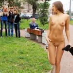 Melena Tara naked for teenagers and old man in park