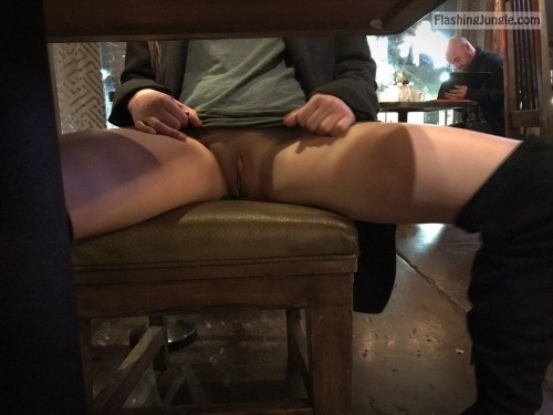Knickerless GF in high boots beautiful cunt in restaurant upskirt pussy flash public flashing no panties