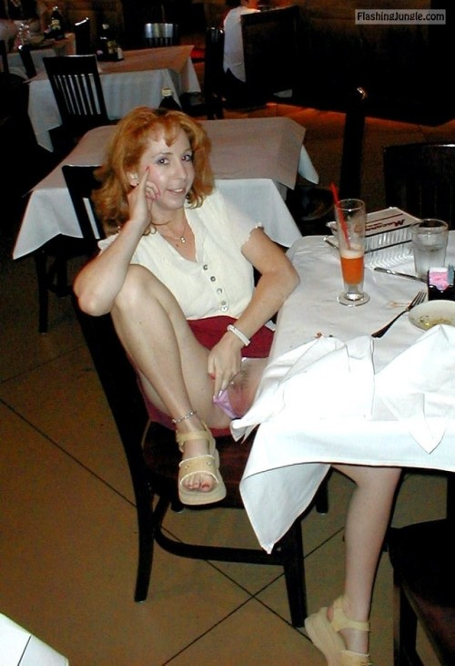 Panties aside in restaurant: Redhead GF is feeling slutty pussy flash public flashing howife